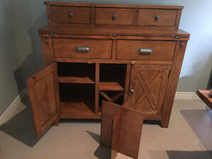 Versatile in looks, solid wood buffet, excellent condition!