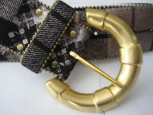 Genuine Leather Black/Silver Belt Gold Buckle