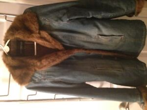BLEACHED DENIM QUILTED COAT WITH MATCHING PURSE