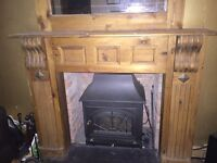 Wood fire surround and matching mirror