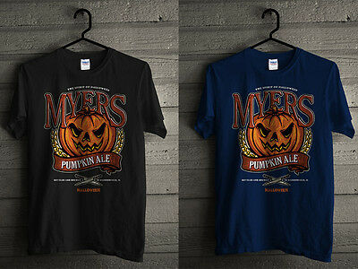 NEW MICHAEL MYERS THE SPIRIT OF HALLOWEEN PUMPKIN ALE MOVIE MEN BLACK T - The Spirit Of Halloween Movie