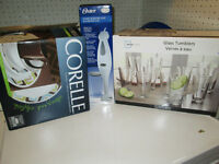 Corelle dishes, glass set and hand mixer