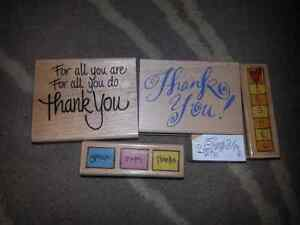 76 Rubber stamps on wood