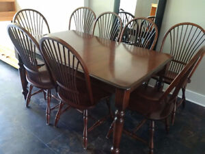 SOLD!! Canadian made quality solid wood dining set & 8 chairs
