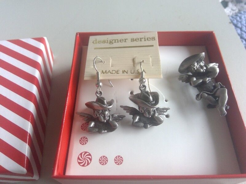 af1e0d726d0 New! Angels in cowboy hat earrings and pin with gift box