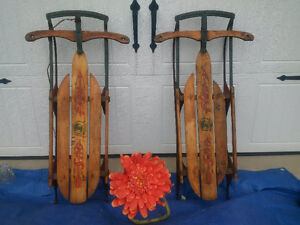 2 Antique RUSTIC **SLEDS or SLEIGHS ** + CANADA HORSE SHOE ART