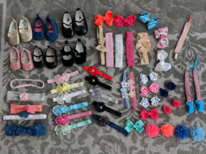 0-6 month baby girl bows, headbands, shoes