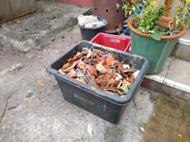 Big tub of pottery shards