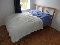 DOUBLE BED - mattress and wooden bed-frame for sale