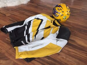 HJC leather motorcycle jacket and matching Helmet