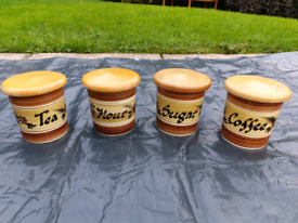 Toni Raymond Hand Painted Pottery Jars x4