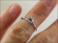 Hallmarked Platinum Half Carat Diamond Ring GIA Certified