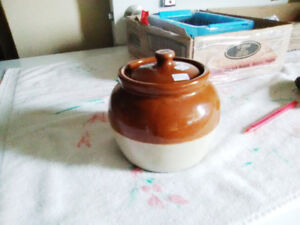 Lovely Bottom Stamped Medalta Pottery Bean Crock