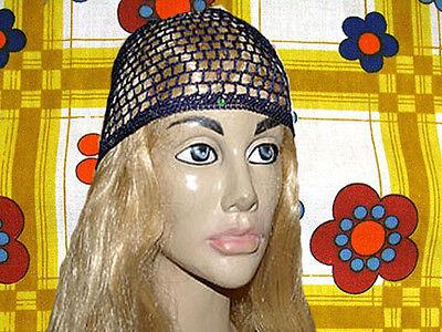 A108✪ 60er 70er Jahre Revival Häkel Haarnetz Pailletten Mama Mia dunkelblau