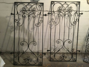 Two GORGEOUS designer-made wrought iron inserts