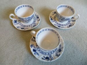 Set of 3 Cups and Saucers, Johnson Brothers Nordic, Iron Stone