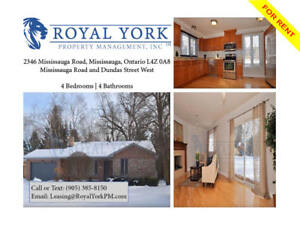 4 BED / 4 BATH - HOUSE FOR RENT @ MISSISSAUGA RD   FINISHED BSMT