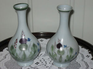 ...Two Vintage Buchan Thistleware Vases..[Made in Scotland]...