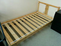 Single bed frame+slatted bed base+spring mattress