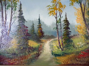 """Oil Painting by Listed Artist Paul Hyttinen """"A Forest Path"""" 1950 Stratford Kitchener Area image 2"""