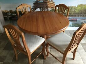 Dinner table and 4 chairs - solid pine REDUCED FOR QUICK SALE