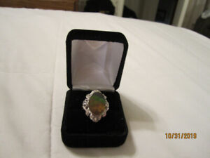 Ammolite and diamonds cocktail ring