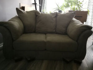 Beautiful, plush loveseat in sage green. Excellent Condition