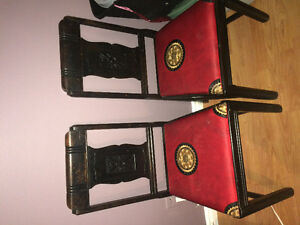 3 wooden dining room chairs