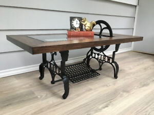 Antique treadle sewing machine coffee table- unique-industrial