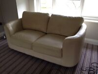 Ivory leather sofa - 2 seater