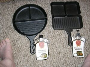 2 NEW JIM BEAN CAST IRON SECTIONAL SKILLETS