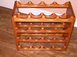 Solid Oak Wine Rack Holder Display