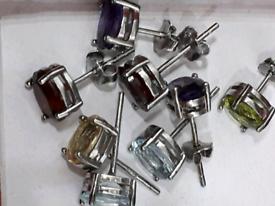 🌹1 72ct Oval Natural Gemstone Stud Genuine 925S.S Earrings