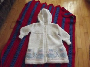 knittted Hooded Baby/Child Coat.  Hand crafted! Top quality!