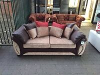 ***NEW DFS 3 seater mink/chocolate/red fabric sofa for SALE***