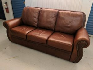 Brown Genuine Leather Sofa. Can Deliver.