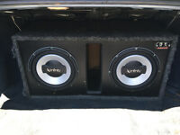 "2 x 10"" Infinity Subwoofers + Xtant Mono Amp + Ported Sub Box"