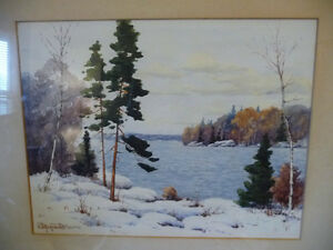 "Original Watercolor by William Blackwood, ""Winter Study"" 1930 Stratford Kitchener Area image 2"