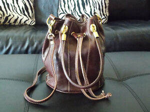 Tuscan Brown Leather Bucket Bag For Sale