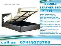 Double / Kingsize leather Frame with storage Bedding