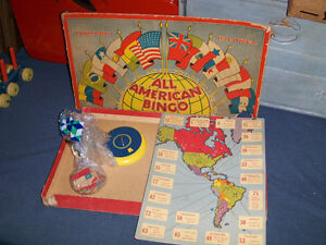 ALL AMERICAN BINGO-VINTAGE ONTEX GAME-1950'S-BILINGUAL