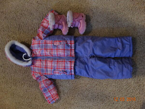 2T OshGosh Pink and Purple Plaid Snowsuit and Boots