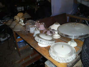 Antique / Vintage Light Fixtures  Shades and Hanging Lamps (Lot)