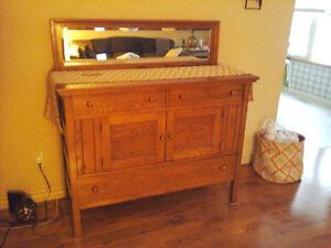 Antique oak sideboard hutch