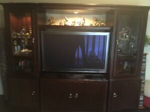 Wall Unit with TV Stand and Glass Cabinets