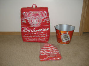 BUDWEISER COOLER, ICE BUCKET AND TOQUE