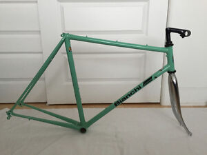 Fully restored 1987 Bianchi frame and fork, Campy wheels.