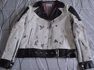 Marbled Leather Biker Jacket - Ladies Medium - New