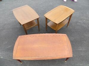 1960's Dielcraft coffee table & 2 end tables