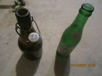 TWO OLD BOTTLES, 7 UP , PRESS TYPE TOP